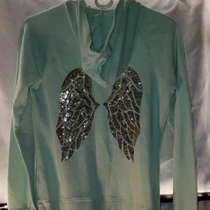 Victorias secret green hoodie S/P. Angel wings